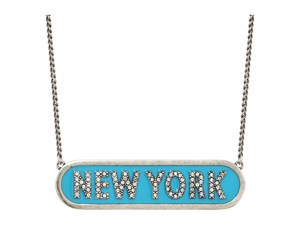 Marc Jacobs - Charms Paradise New York Nameplate Pendant Necklace (Turquoise) Necklace