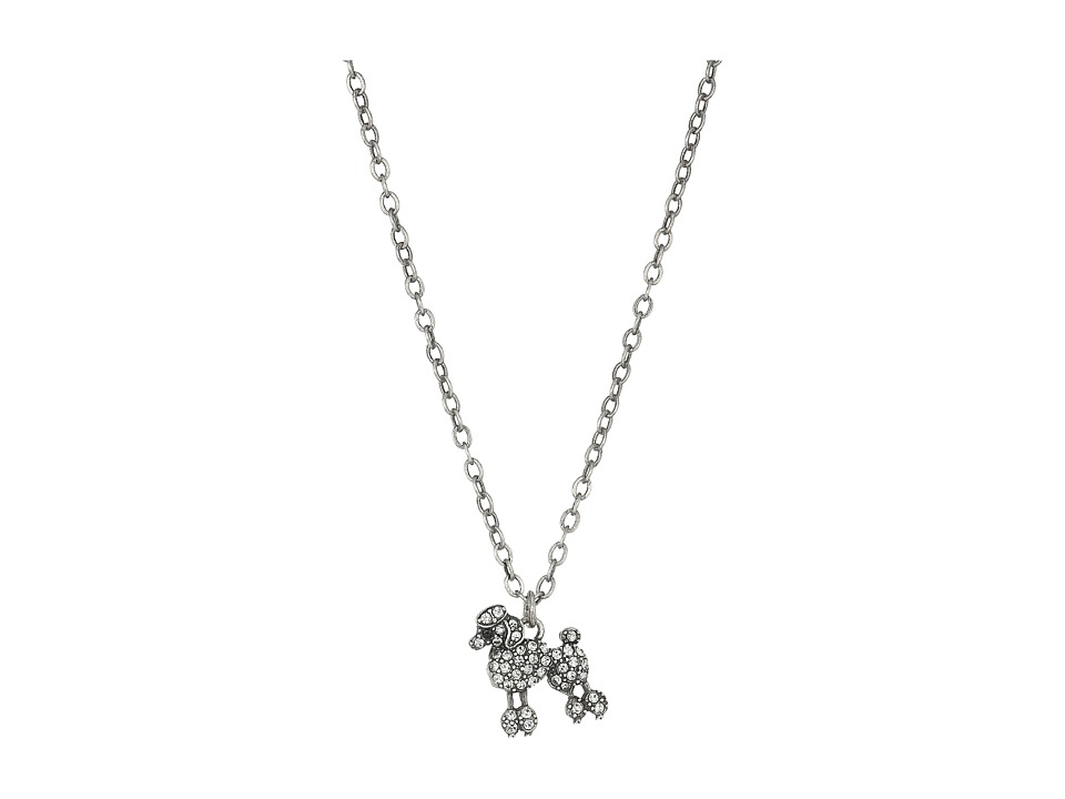 Marc Jacobs - Charms Paradise Mini Poodle Pendant Necklace (Crystal/Antique Silver) Necklace