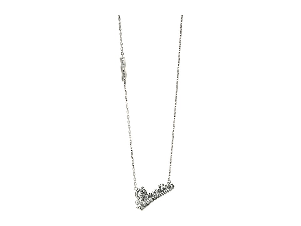 Marc Jacobs - Charms Paradise Paradise Nameplate Pendant Necklace (Crystal/Antique Silver) Necklace