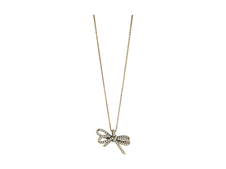 Marc Jacobs - Bow Pave Twisted Pendant Necklace (Crystal/Antique Gold) Necklace