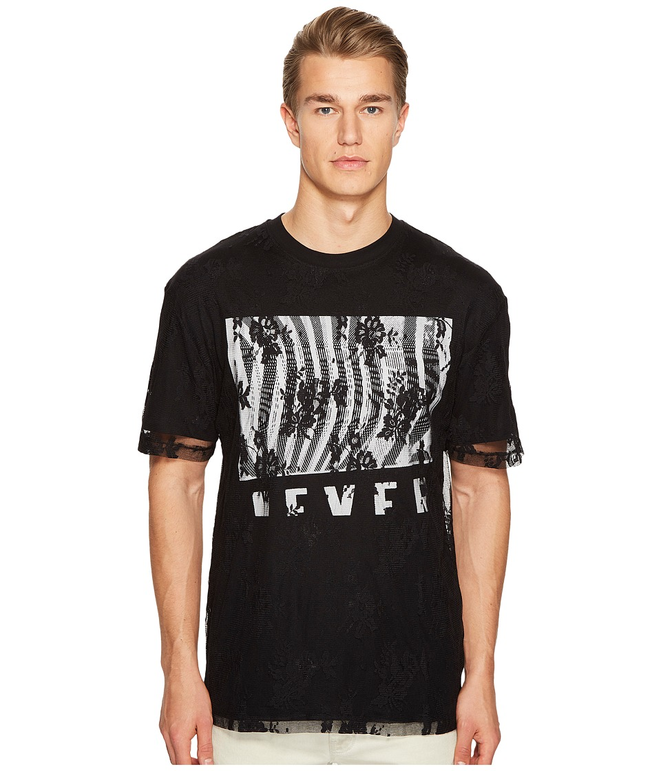 McQ - Screen Print Dropped Shoulder T-Shirt (Darkest Black) Men's T Shirt