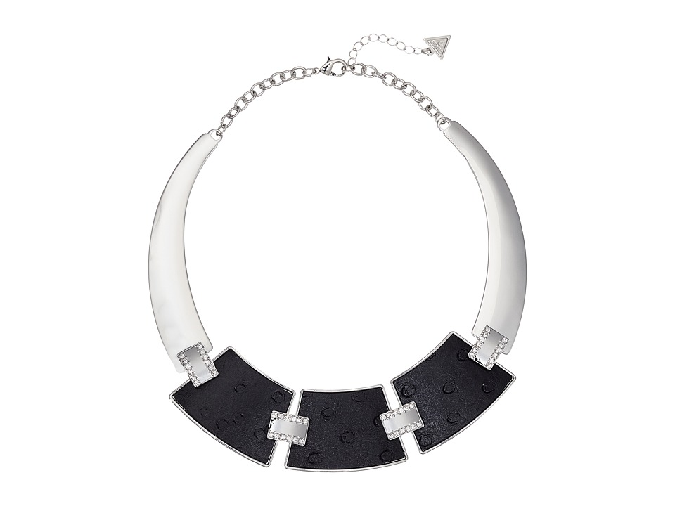 GUESS - 3 Plate Hinged Collar with Faux Ostrich Necklace (Silver/Black) Necklace