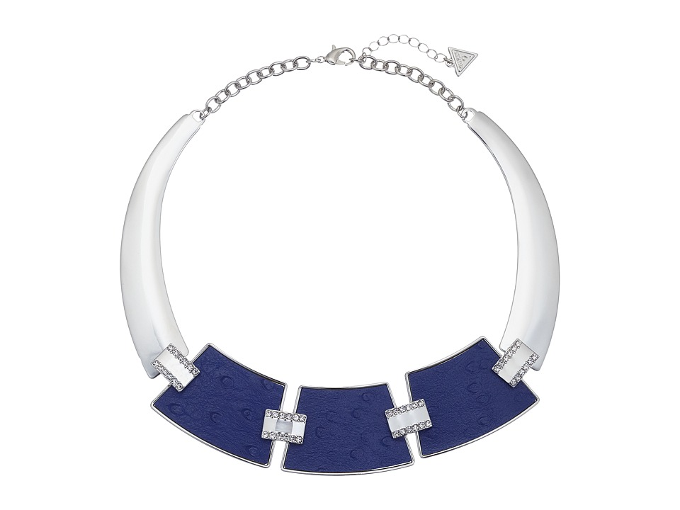 GUESS - 3 Plate Hinged Collar with Faux Ostrich Necklace (Silver/Blue) Necklace