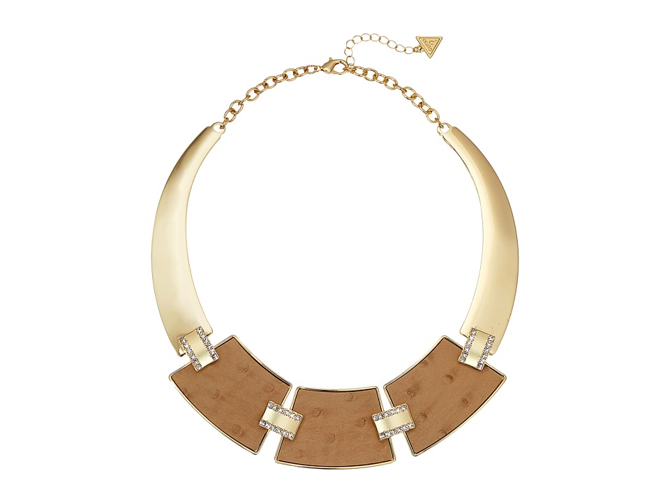 GUESS - 3 Plate Hinged Collar with Faux Ostrich Necklace (Gold/Cognac) Necklace