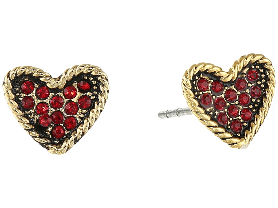Marc Jacobs - MJ Coin Heart Studs Earrings (Red) Earring