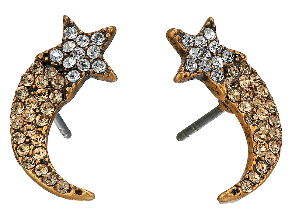 Marc Jacobs - Charms Paradise Shooting Star Studs Earrings (Crystal/Antique Gold) Earring