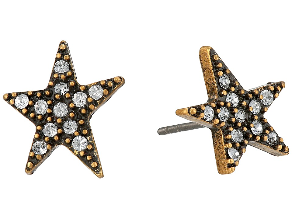 Marc Jacobs - Charms Paradise Star Studs Earrings (Crystal/Antique Gold) Earring