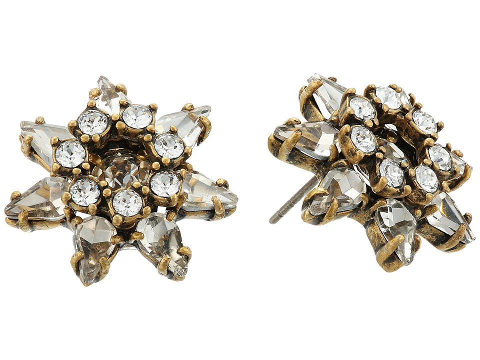 Marc Jacobs - Charms Tropical Pointy Strass Flower Studs Earrings (Crystal/Antique Gold) Earring