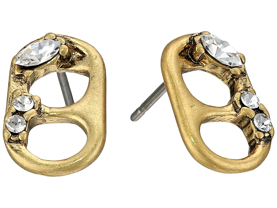 Marc Jacobs - Safety Pin Mini Strass Soda Lid Studs Earrings (Crystal/Antique Gold) Earring