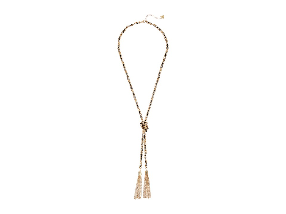 GUESS - Twisted Mixed Metal Chain Knot Necklace with Tassel (Gold/Jet) Necklace