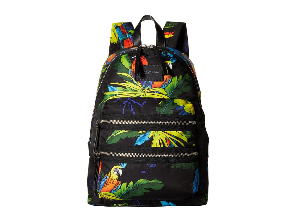 Marc Jacobs - Parrot Printed Biker Backpack (Black Multi) Backpack Bags