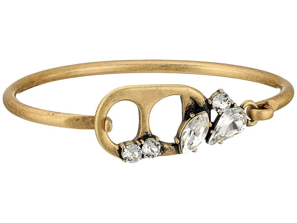 Marc Jacobs - Safety Pin Soda Lid Hinge Cuff Bracelet (Crystal/Antique Gold) Bracelet