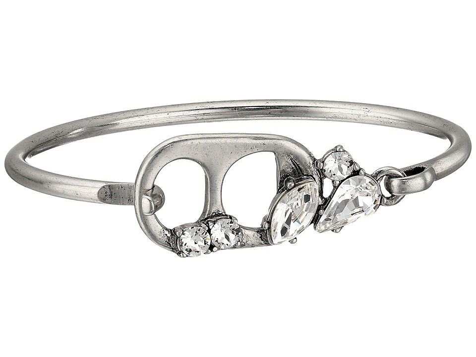 Marc Jacobs - Safety Pin Soda Lid Hinge Cuff Bracelet (Crystal/Antique Silver) Bracelet