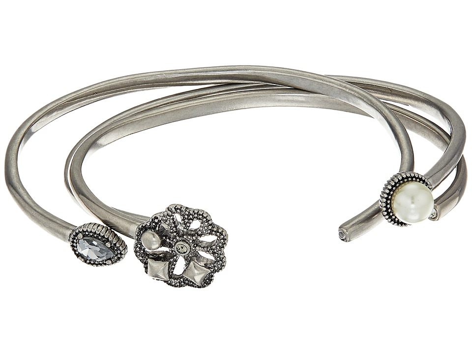 Marc Jacobs - Daisy Cuff Bracelet Set (Crystal/Antique Silver) Bracelet
