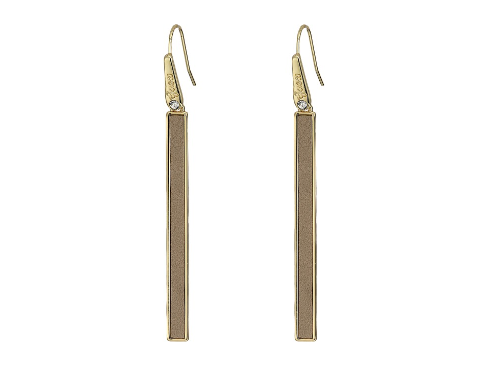 GUESS - Stick Drop Earrings with Faux Ostrich (Gold/Cognac) Earring