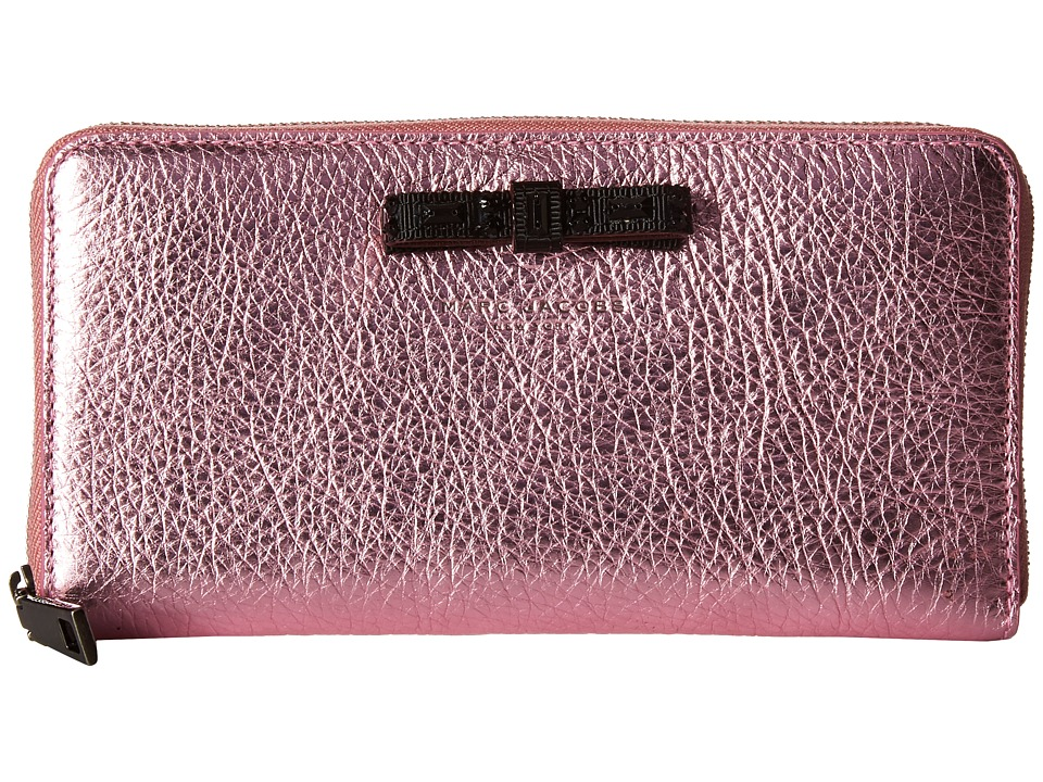 Marc Jacobs - Metallic Bow Standard Continental Wallet (Pink) Wallet Handbags