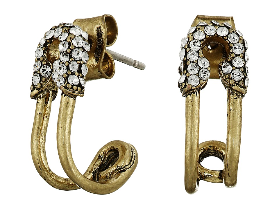 Marc Jacobs - Safety Pin Strass Ear Hoop Earrings (Crystal/Antique Gold) Earring