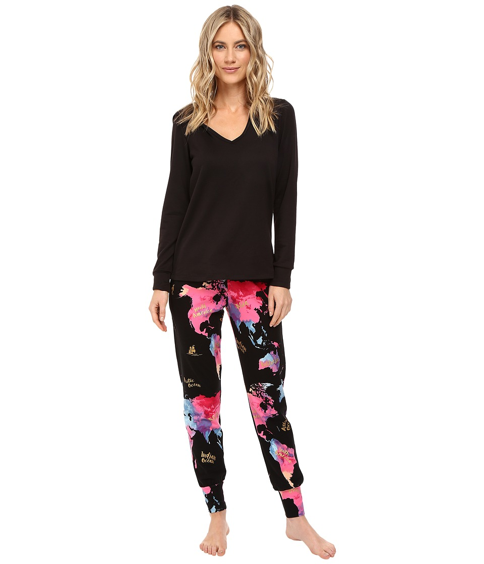 BedHead - French Terry Long Sleeve Hoodie and Jogger Pants Set (Bon Voyage) Women's Pajama Sets