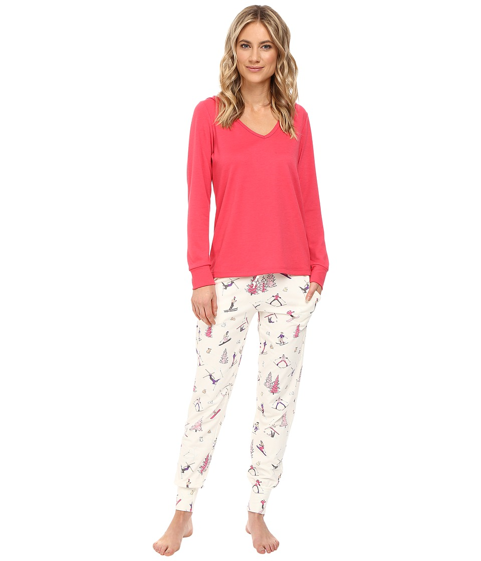 BedHead - French Terry Long Sleeve Hoodie and Jogger Pants Set (Pink Ski Bunnies) Women's Pajama Sets