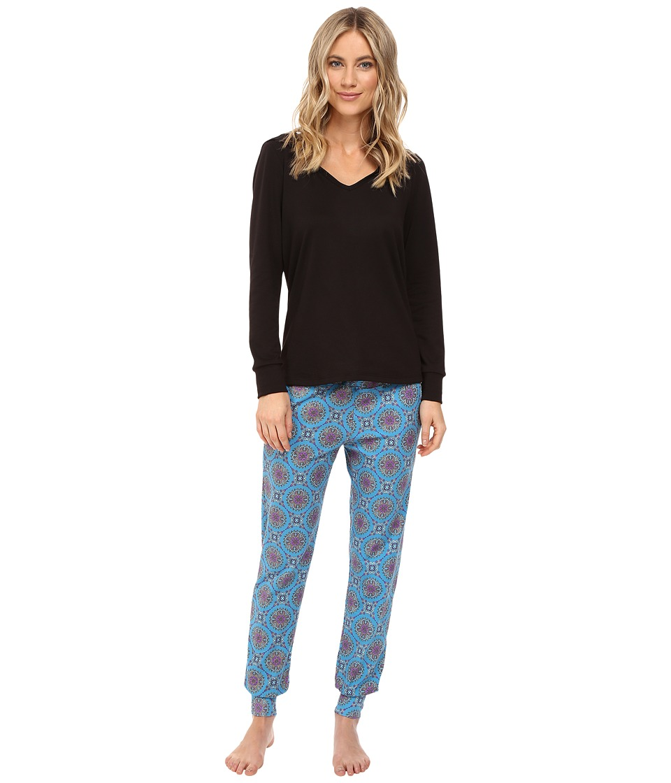 BedHead - French Terry Long Sleeve Hoodie and Jogger Pants Set (Blue Road to Morocco) Women's Pajama Sets