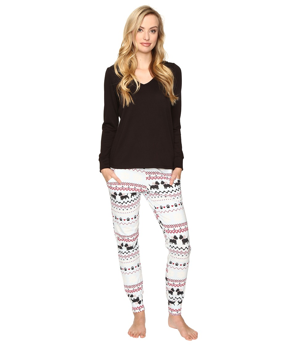 BedHead - French Terry Long Sleeve Hoodie and Jogger Pants Set (Scottie Fair Isle) Women's Pajama Sets