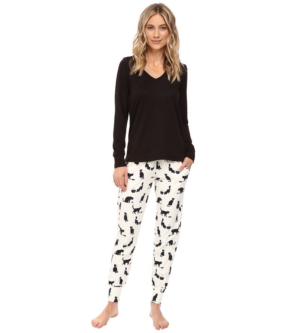 BedHead - French Terry Long Sleeve Hoodie and Jogger Pants Set (Tiffany's Cat) Women's Pajama Sets