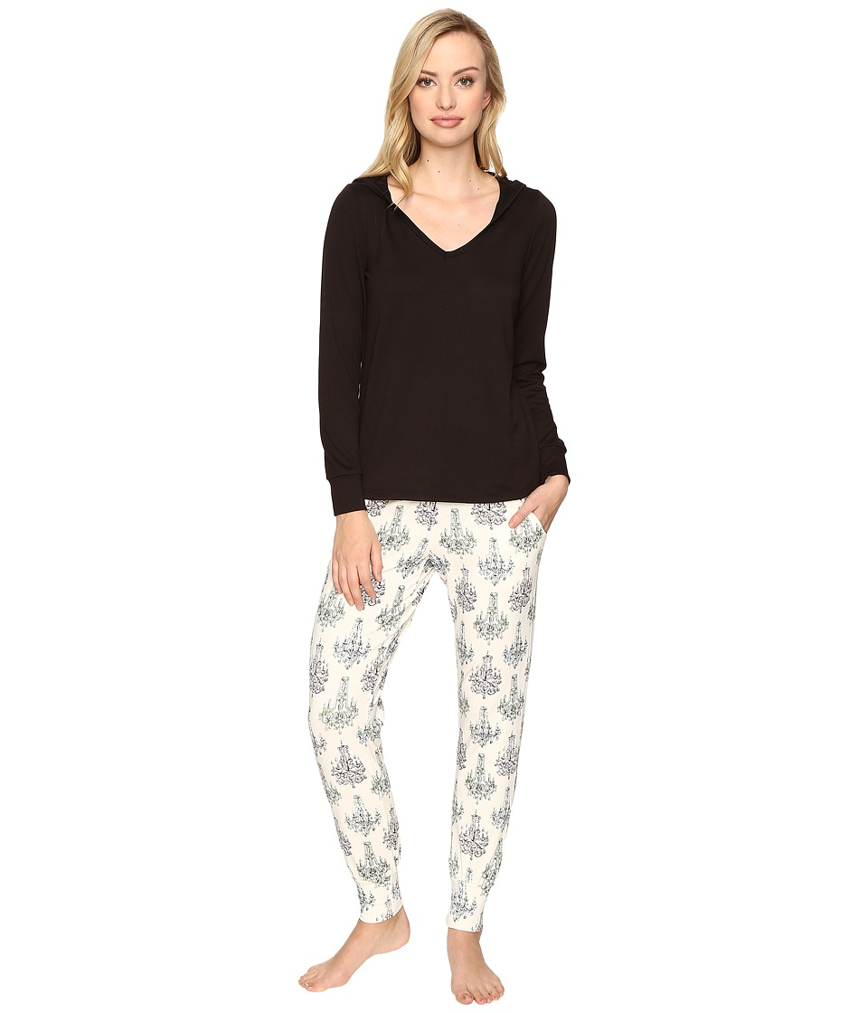 BedHead - French Terry Long Sleeve Hoodie and Jogger Pants Set (Chandelier Damask) Women's Pajama Sets