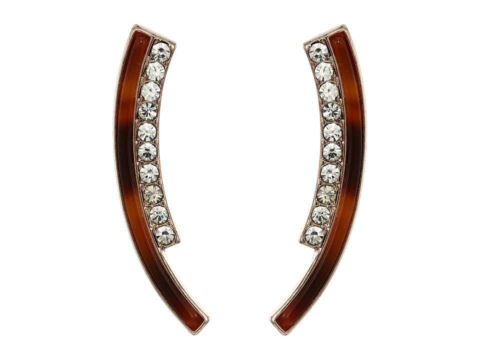 GUESS - Bent Double Stick with Faux Tortoise and Crystal Accents Earrings (Rose Gold/Red Tortoise) Earring