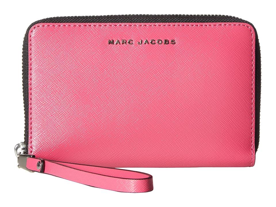 Marc Jacobs - Saffiano Bicolor Zip Phone Wristlet (Magenta/Pink) Wristlet Handbags