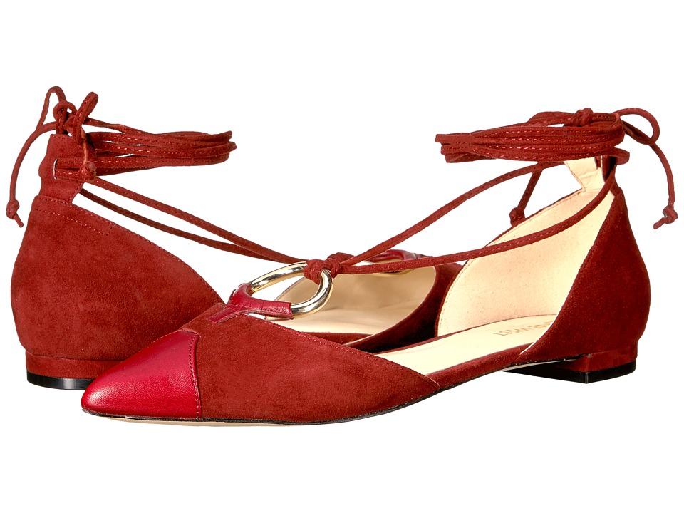 Nine West Alice Dark Red-Dark Red Suede Slip-on Dress Shoes