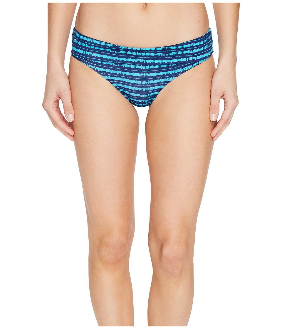 Roxy - Pop Swim 70's Bikini Bottom (Olmeque Stripe Combo Blue Depths) Women's Swimwear