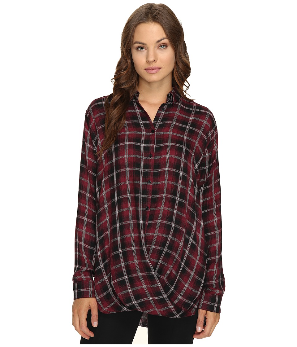 Mavi Jeans - Checked Blouse (Plum Check) Women's Clothing