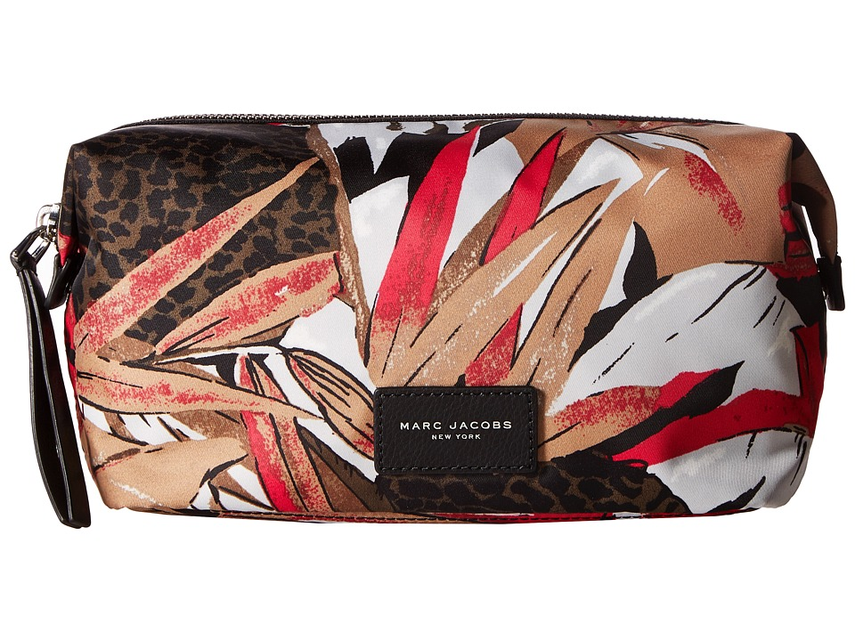 Marc Jacobs - Palm Printed Biker Large Cosmetics Landscape Pouch (Pink Multi) Travel Pouch