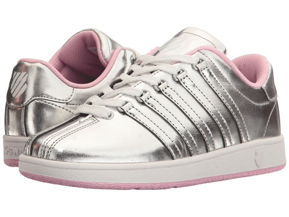 K-Swiss Kids Classic VNtm (Big Kid) (Silver/Pink) Girls Shoes