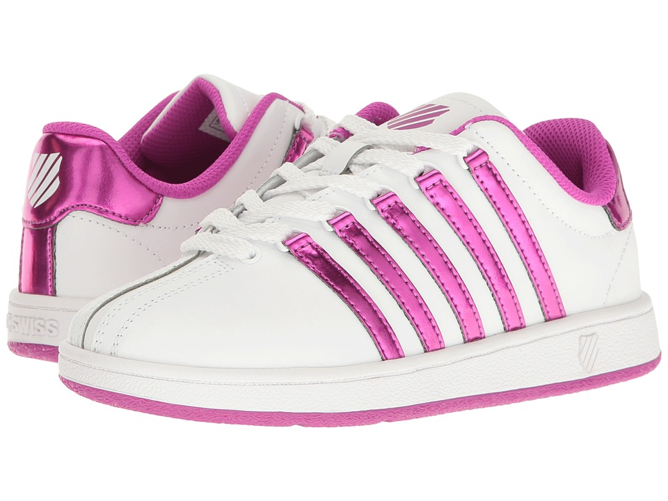 K-Swiss Kids - Classic VN (Big Kid) (White/Pink) Girls Shoes