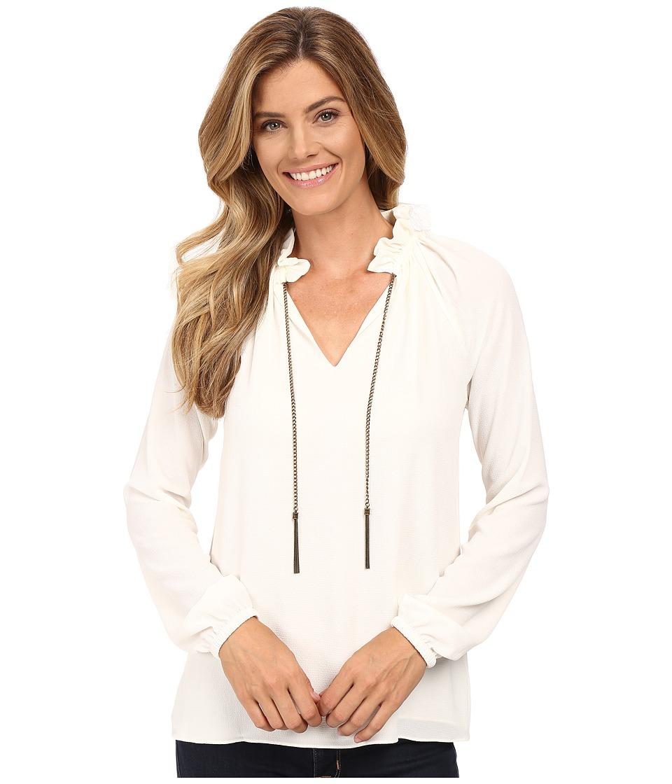 MICHAEL Michael Kors - Chain Neck Raglan Sleeve Top (Cream) Women's Clothing