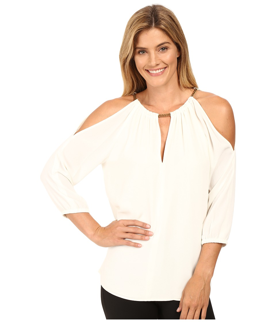 MICHAEL Michael Kors - Chain Cold Shoulder Top (Cream) Women's Clothing