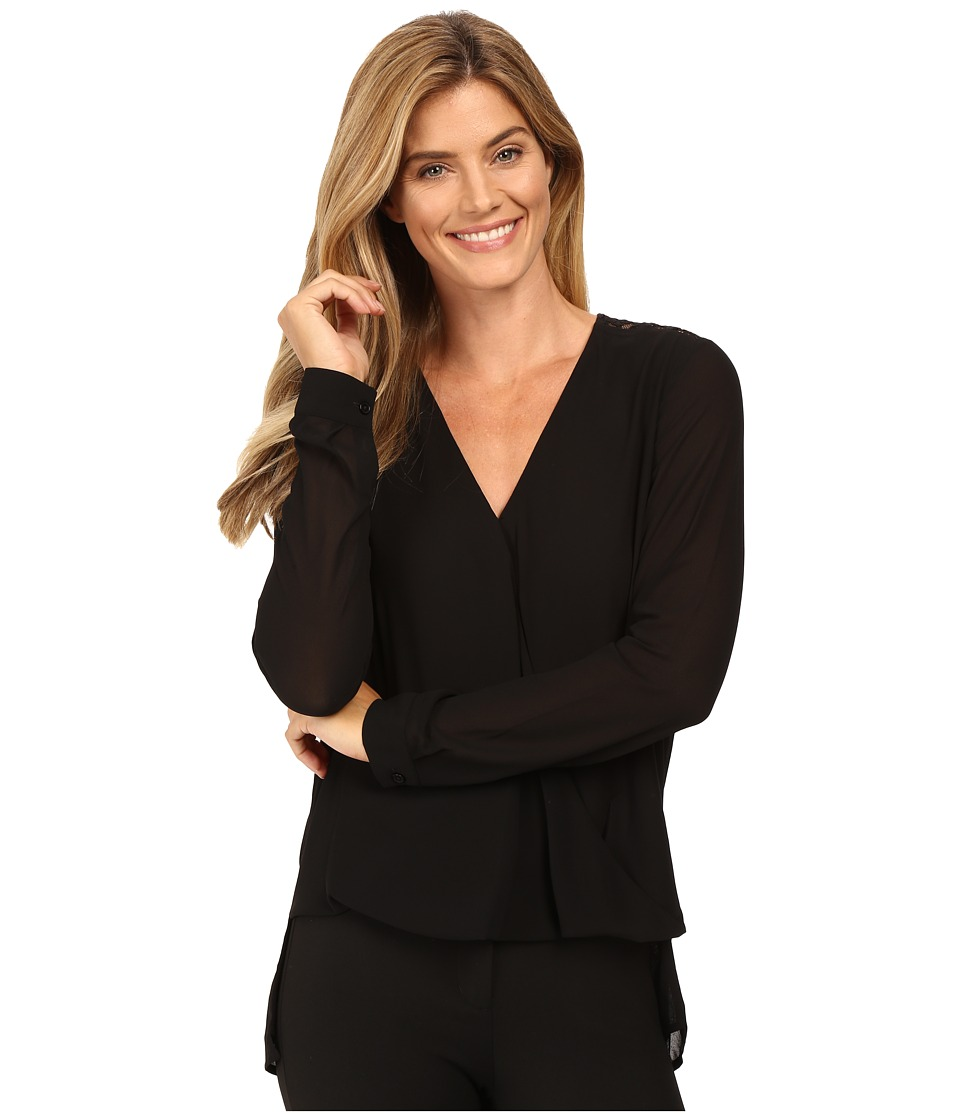 MICHAEL Michael Kors - Draped Blouse w/ Lace Insert (Black) Women's Blouse