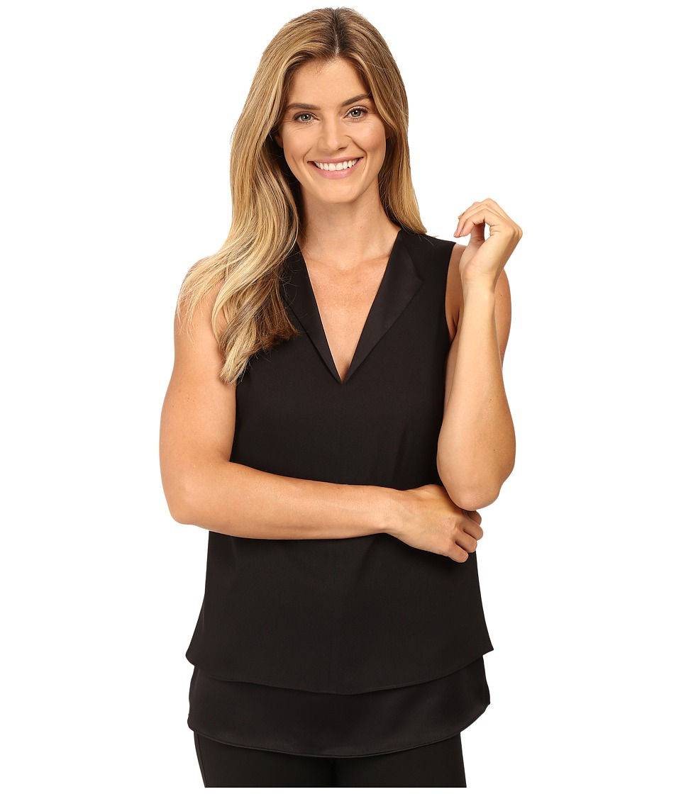 MICHAEL Michael Kors - Draped Open Neckline Tank Top (Black) Women's Sleeveless