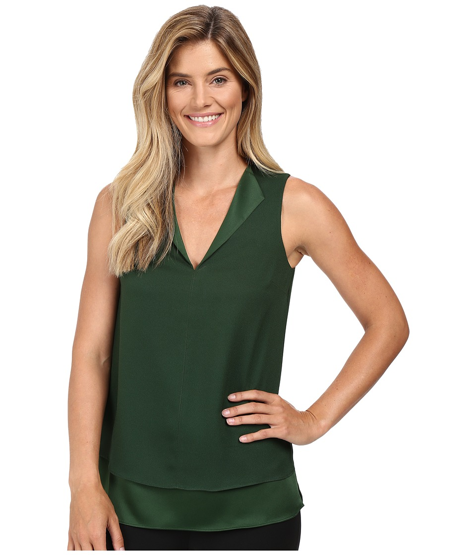 MICHAEL Michael Kors - Draped Open Neckline Tank Top (Moss) Women's Sleeveless