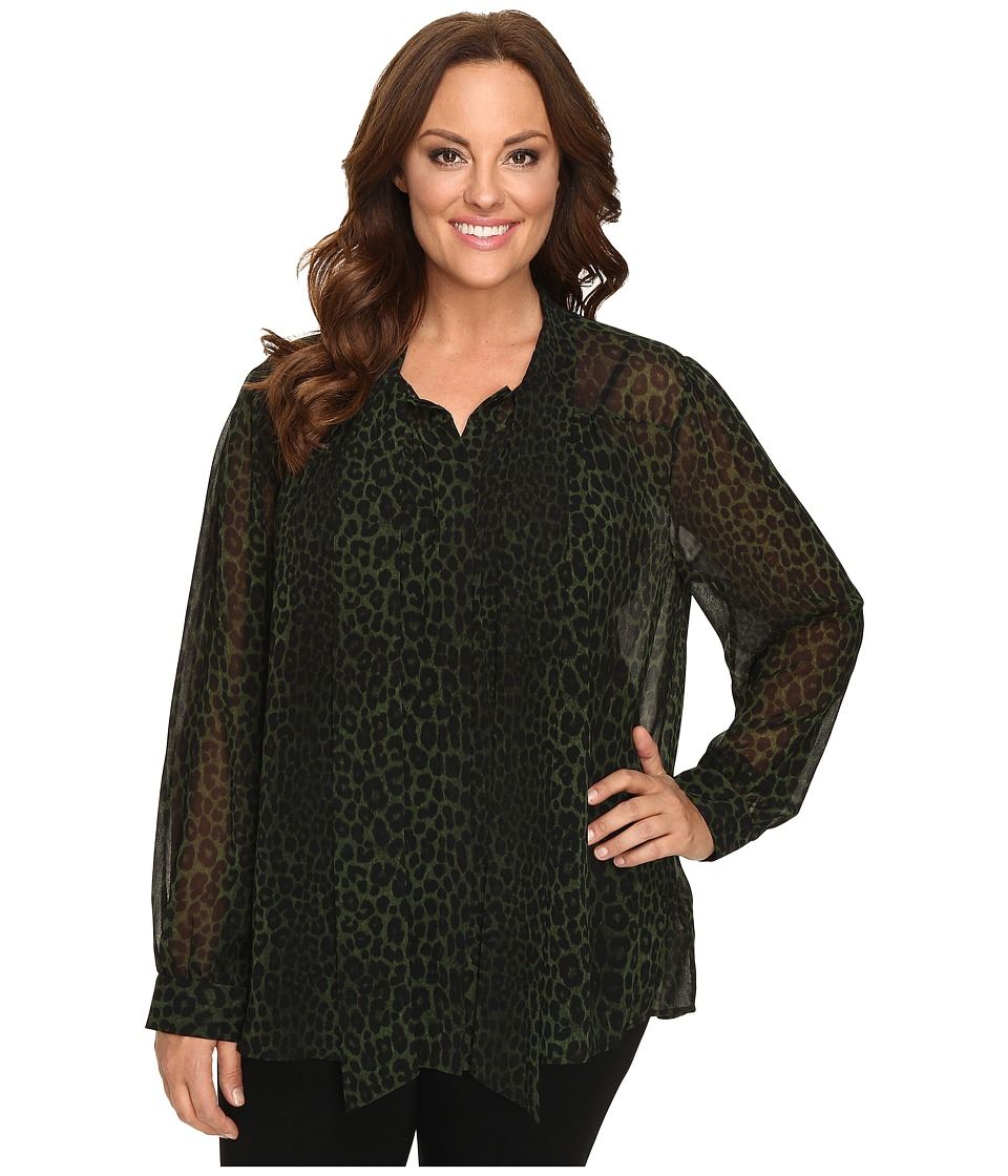 MICHAEL Michael Kors - Plus Size Panther Tie Button Down Top (Moss) Women's Clothing