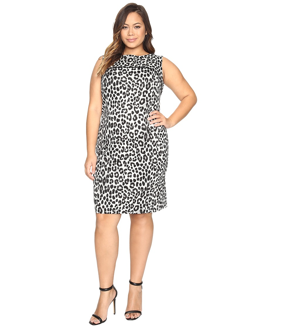 MICHAEL Michael Kors - Plus Size Sleeveless Cheetah Yoke Dress (Black) Women's Dress