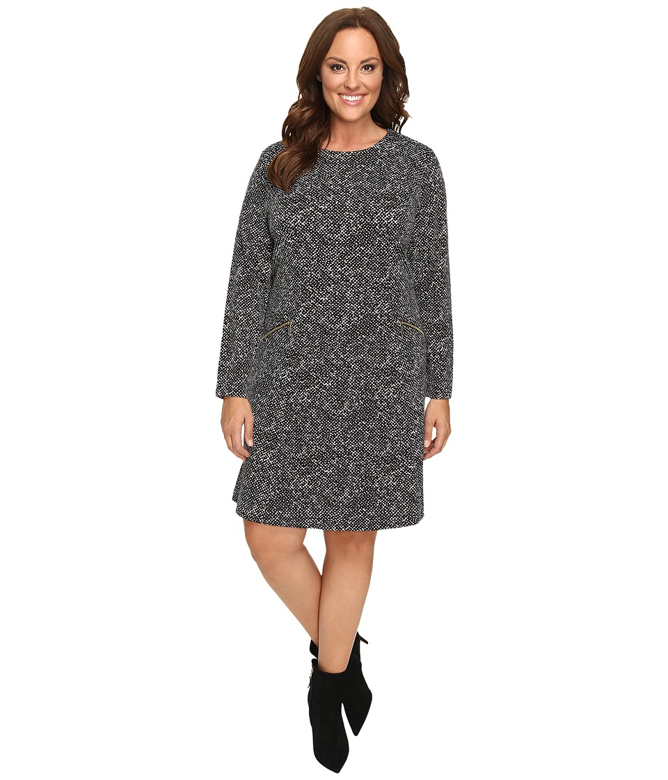 MICHAEL Michael Kors Plus Size Norfolk Long Sleeve Flare Dress (Black) Women