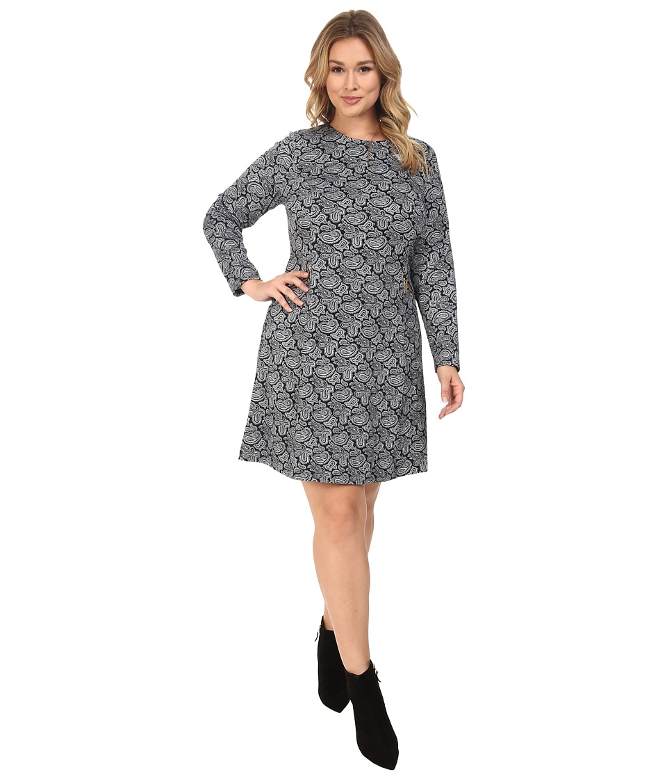 MICHAEL Michael Kors Plus Size Woodbrook Zip Seam Flare Dress (New Navy) Women