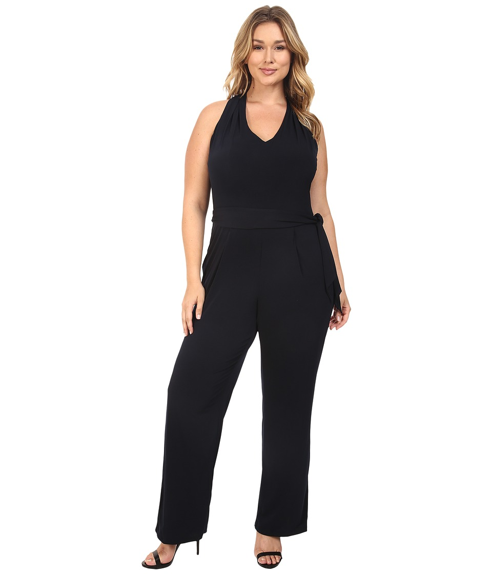 MICHAEL Michael Kors - Plus Size Belted Halter Jumpsuit (New Navy) Women's Jumpsuit & Rompers One Piece