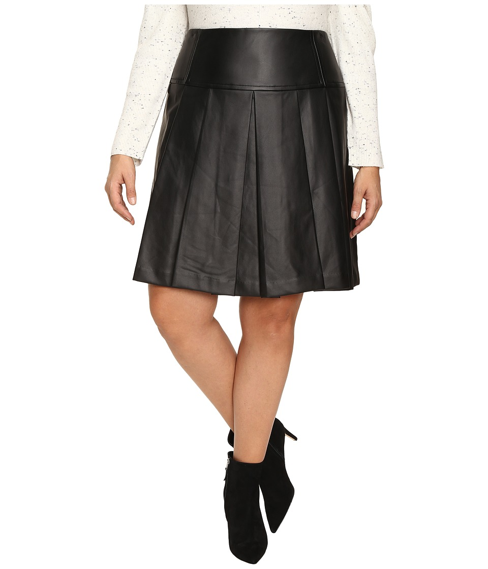 MICHAEL Michael Kors - Plus Size Fit and Flare Pleated Skirt (Black) Women's Skirt