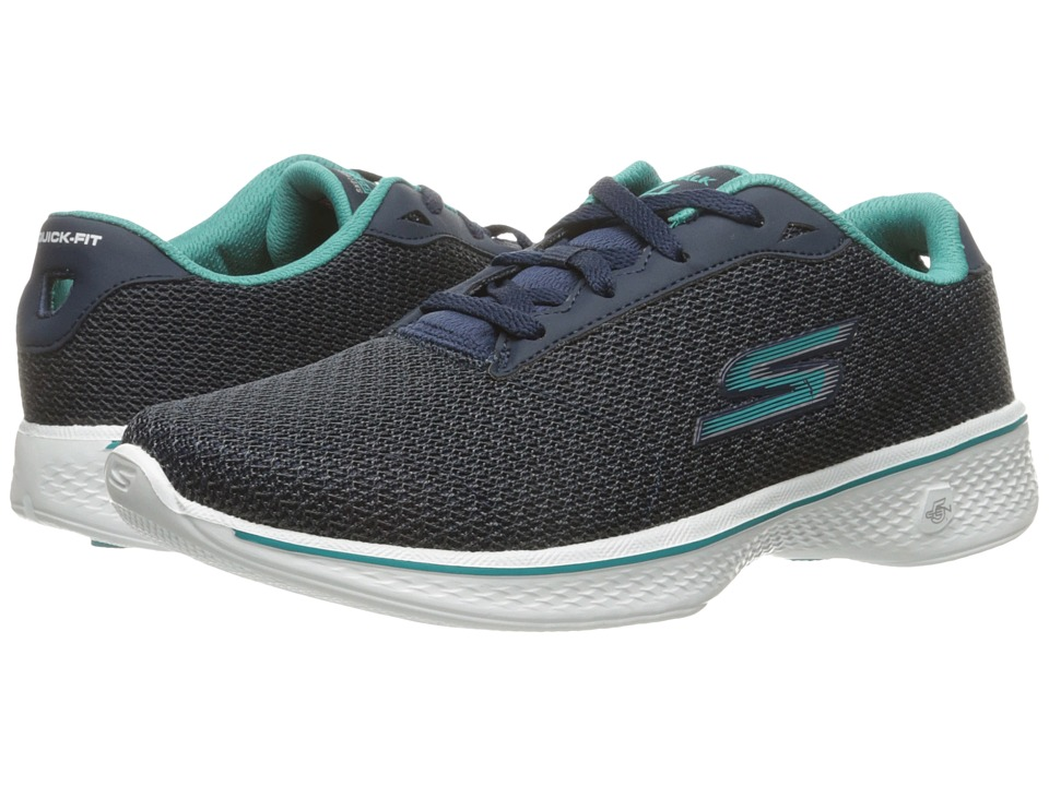 SKECHERS Performance Go Walk 4 Glorify (Navy/Teal) Women