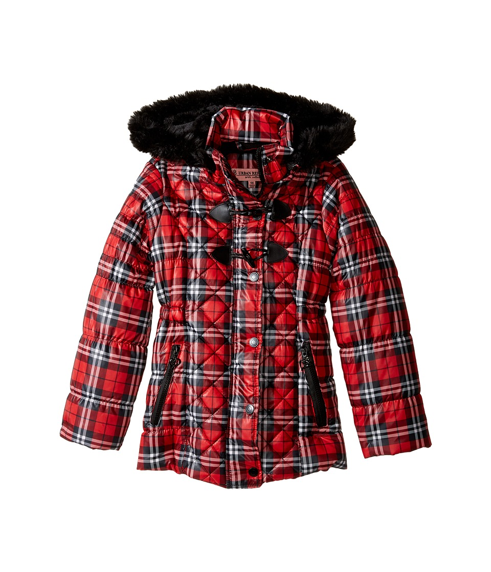 Urban Republic Kids - Pearlized Puffer Jacket (Toddler/Little Kids) (Red Plaid) Girl's Coat