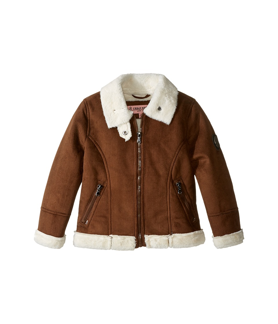 Urban Republic Kids - Ultra Suede Faux Shearling Jacket (Toddler) (Coffee) Girl's Coat