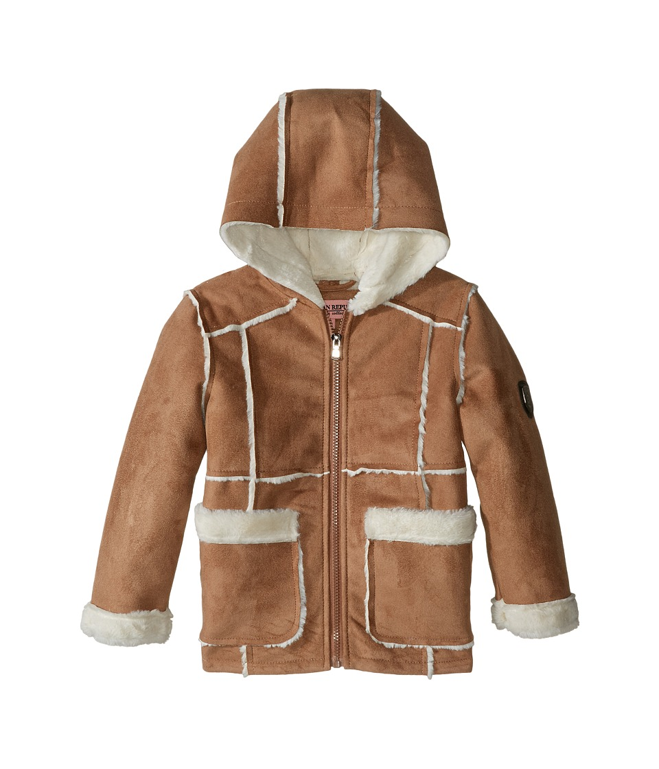 Urban Republic Kids - Ultra Suede Faux Shearling Hooded Jacket (Toddler) (Caramel 2) Girl's Coat
